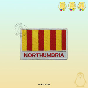 NORTHUMBRIA-County-Flag-With-Name-Embroidered-Iron-On-Sew-On-Patch-Badge