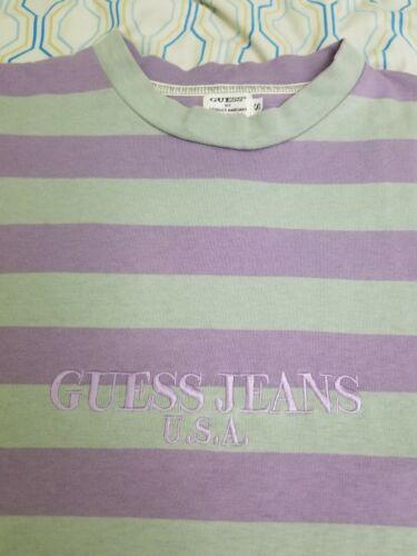VTG 90s Guess Jeans Striped T Shirt Purple Green E