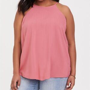 Torrid-2X-Top-Blouse-Rose-Pink-High-Neck-18-20-Keyhole-Back-Challis-Plus-Size