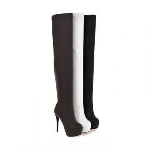 NEW Over The Knee Women Lady Girl Boots Platform Heel Stiletto Zipper Large Size