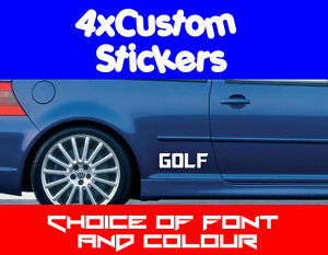4x-Volkswagen-VW-Golf-GTi-VR6-Custom-Stickers-Choice-of-Fonts-Colours-amp-Text