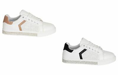Razionale Shelikes Donna Punta Tonda Lacci Glitter Paillettes Scintillante Moda Sneaker Trainer-mostra Il Titolo Originale Sconto Del 50