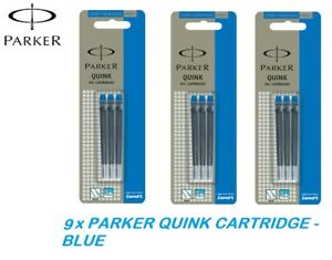 6 X Parker Quink Ink Cartridges Blue Color for Fountain Pen New Made in France
