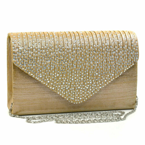 Women Crossbody Envelope Bag Evening Clutch Wallet Purse w// Rhinestone