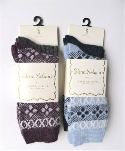 NWT 2 PR Elena Solano Italy Boot Socks Angora Blend Diamond// Solid