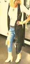 Elan Drape Open Front Long Boho Cardigan/ Vest  Crochet Panels Black  SALE