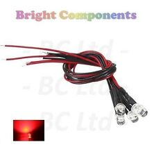 10 x Pre-Wired Red LED 5mm Flat Top : 9V ~ 12V : 1st CLASS POST