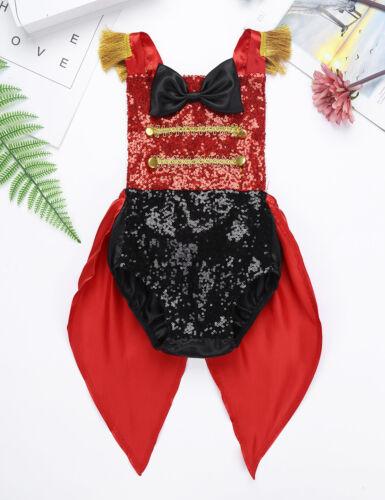 Circus Ringmaster Tutu Dress Girls Birthday Party Halloween Romper Costume Kids