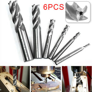 "1//8/"" 3//16/"" 1//4/"" 5//16/"" 3//8/"" 1//2/"" Steel HSS Straight End Mill Cutter Set of 6 PCS"