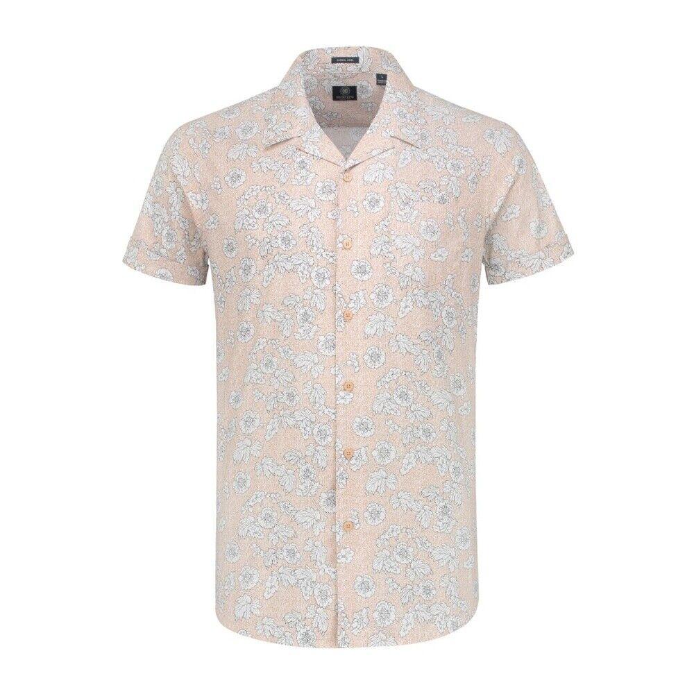 Dstrezzed Shirt Resort Collar Structure Motif Stretch Poplin Flower pink SIZE M