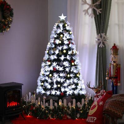 Green HOMCOM 3ft Tall Artificial Tree LED Lit Christmas Decoration