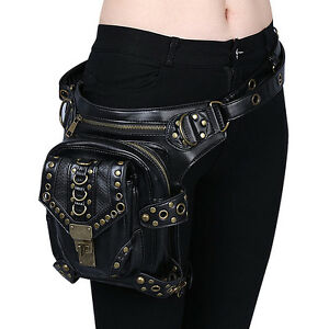Image Is Loading Women Men Black Leather Steampunk Mini Waistbag Motorcycle