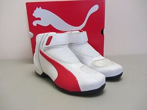 Details about Puma Flat 2 v2 Size 6 US White w Red Motorcycle Shoes CLOSEOUT