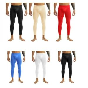 Mens See Through Tight Pants Low Rise Bulge Pouch Long Johns Trousers Legging