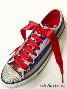 Image is loading CONVERSE-All-Star-with-SWAROVSKI-crystals -Patriotic-America- c70534d8cd25
