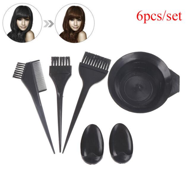 6pcs/set Plastic Dye Hair Color Dye Bowl Comb Brushes Tool Kit Set Tint Coloring