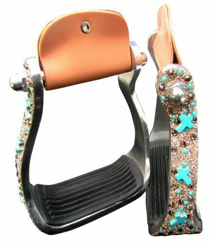 Showman Turquoise and Brown Cross  Concho Lightweight Stirrups  FREE SHIP   on sale 70% off