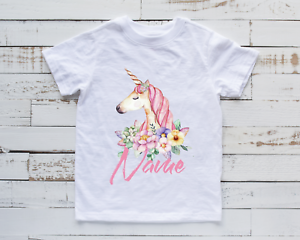 Personalised Unicorn T-Shirt Girls Kids Children's Top Any Name Cute Gift Idea