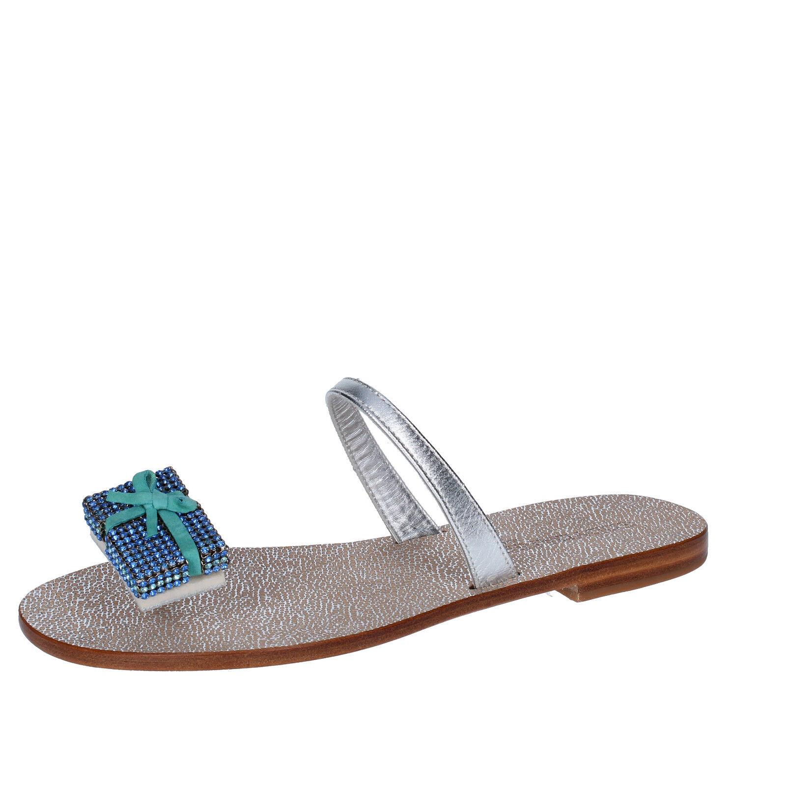 Zapatos para para para mujer Eddy Daniele 4 (EU 37) Sandalias Plata Cuero Swarovski AW434  ventas de salida