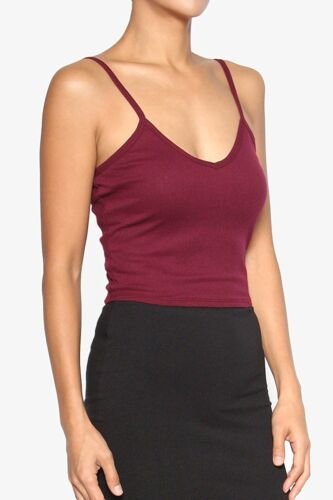 Women Spaghetti Strap V Neck Vest Cropped Girls Cotton Ribbed Cami Tank Crop Top