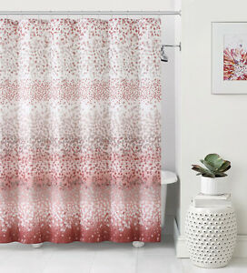 Details About Celebration Dobby Coral Orange White Striped Confetti Fabric Shower Curtain NWOP