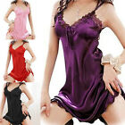 Women Sexy Lady Lace Imitated Silk Sleepwear Nightgown Night Robes Pajamas H