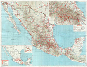 mexico showing roads railways 1968 old vintage map plan chart ebay