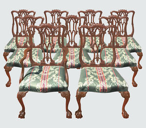 1900-1950 United Eight Chippendale Mahogany Dining Chairs Leather Seats Comfortable And Easy To Wear