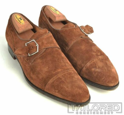 JOHN LOBB Brentwood Brown Suede MONK STRAP Loafers