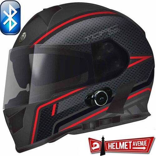 TORC T14B BLUETOOTH FLAT SCRAMBLE BLACK RED FULL FACE MOTORCYCLE HELMET DOT