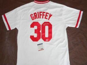timeless design f2b78 0ea07 Details about Ken Griffey Jr Autographed MLB Signed Cincinnati Reds Sewn  baseball Jersey