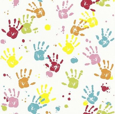 RED YELLOW BLUE HANDPRINTS MIXED HAND PRINTS GIRLS BOYS CHILDRENS KIDS WALLPAPER