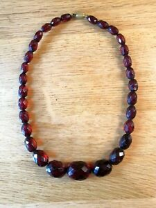 Art Deco 1930s Faceted Cherry Amber Bakelite Simichrome Test Collar Necklace VTG