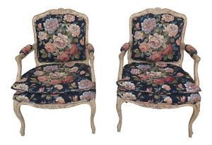 30789EC-Pair-French-Style-Distressed-Paint-Decorated-Open-Arm-Chairs