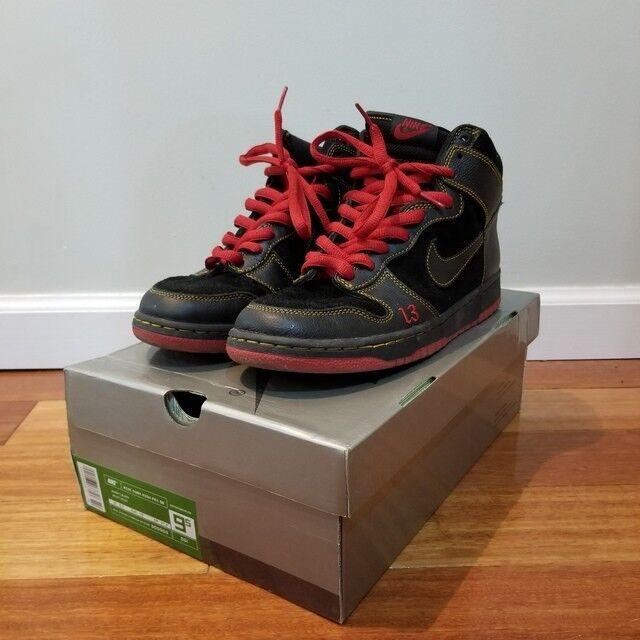 pdnv nike sb dunk hi high hi dunk malchanceux 13 noir - rouge - taille 9,5 305050-001 2004 1c590f