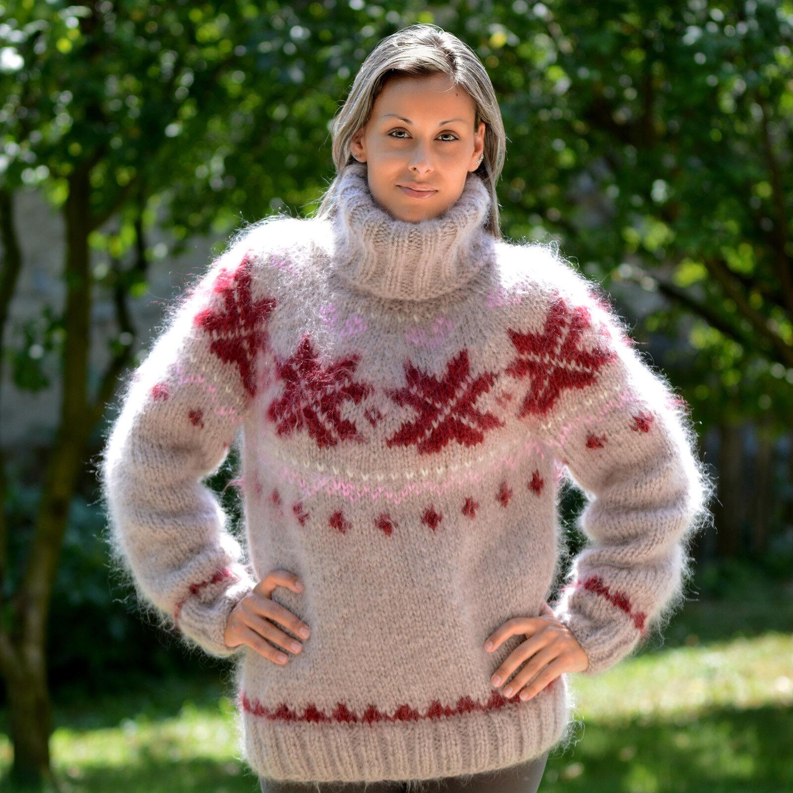 Hand Knit Mohair Sweater Icelandic Nordic Fuzzy Fuzzy Fuzzy Beige Red EXTRAVAGANTZA M L XL 25f5e9