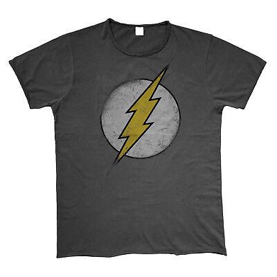 OFFICIAL DC Comics Original Vintage Distressed Logo T Shirt Grey Raw Edges