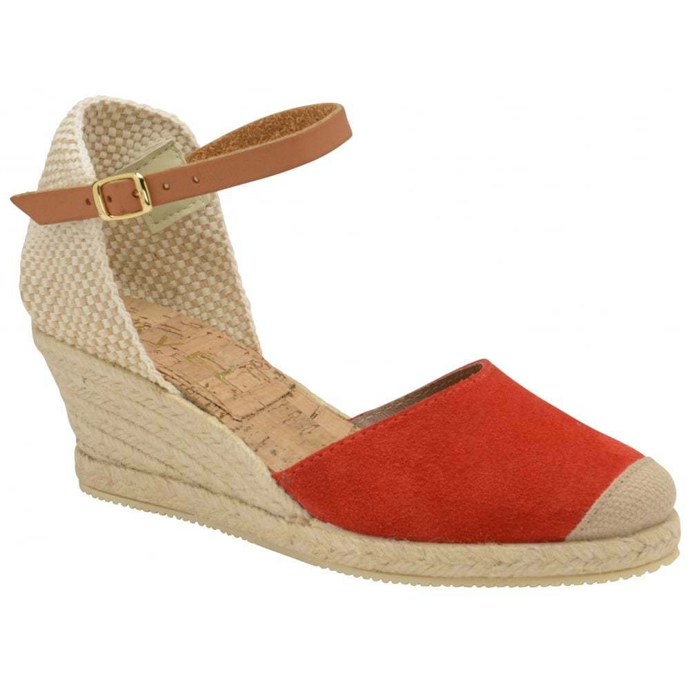 Ravel Etna Espadrilles Suede rouge wedge sandals with Cork Insoles & Buckle jeûne