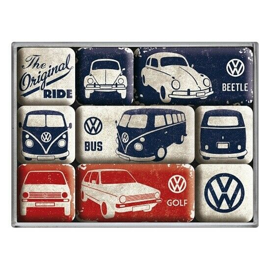 VW Original Ride Magnet Set 9 tlg. Poly Box Nostalgie Set NEU