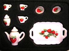 Tea Set Strawberry Design, Dolls House Miniature Tableware, Kitchen 1.12 Scale