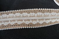 Burlap With Lace Center & Pearl Edge Ribbon 1 1/2 Spool Crafts Wedding