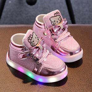 150ac2bc Zapatos de Bebe Niña Hello Kitty Zapatillas con Luz LED Intermitente ...