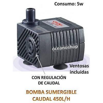 BOMBA SUMERGIBLE de 450L/H 5W PARA ACUARIO ESTANQUE FUENTE