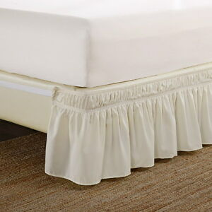 1-Ivory-Wrap-Around-Elastic-Bedding-Bed-Dressing-Easy-Fit-Skirt-14-034-inch-Drop
