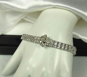 ART-DECO-BUCKLE-Bracelet-1920s-STERLING-6-75-034-Long-DIAMOND-PASTE-Brilliants-Fab