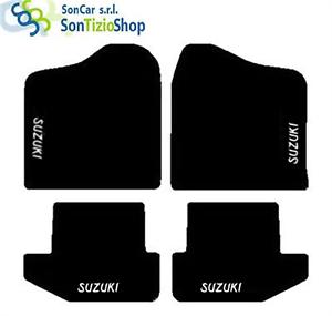 DECORO SUZUKI bianco TAPPETI SUZUKI SAMURAI su Misura 4 Fix Universali!
