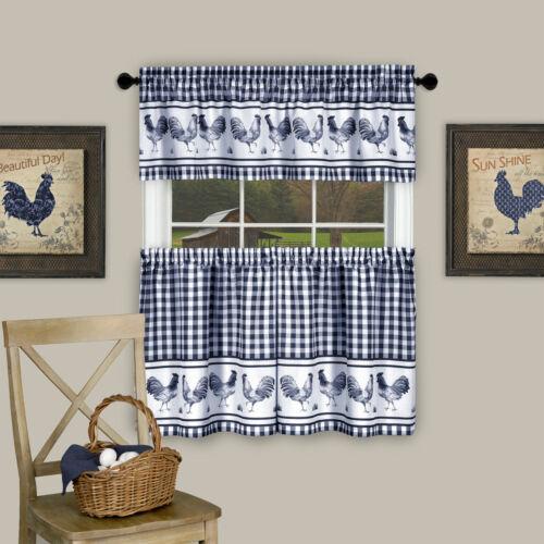 Assorted Colors Sizes Plaid Rooster Kitchen Curtain Tier Valance Set Curtains Drapes Valances Garden Curtains