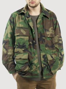 6248fcce55b24 US CAMO JACKET WOODLAND ARMY CAMOUFLAGE GRADE 1 USED SUMMER MILITARY ...