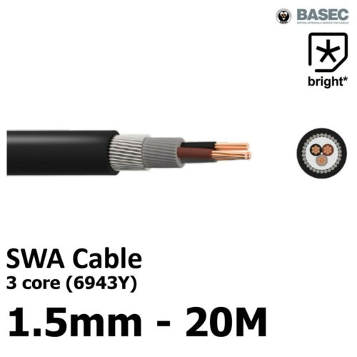 20M  1.5 mm²  6943X 3 core SWA Steel Wire Armoured Cable BASEC Outdoor Exterior