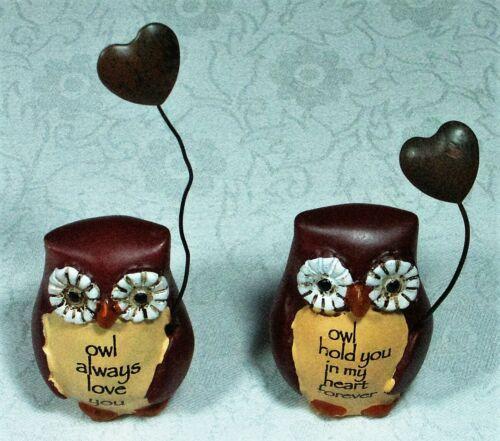 12 Miniature Owls w Beautiful Wording 8cm OWLDIS 9319844501873 Poly Resin wMetal